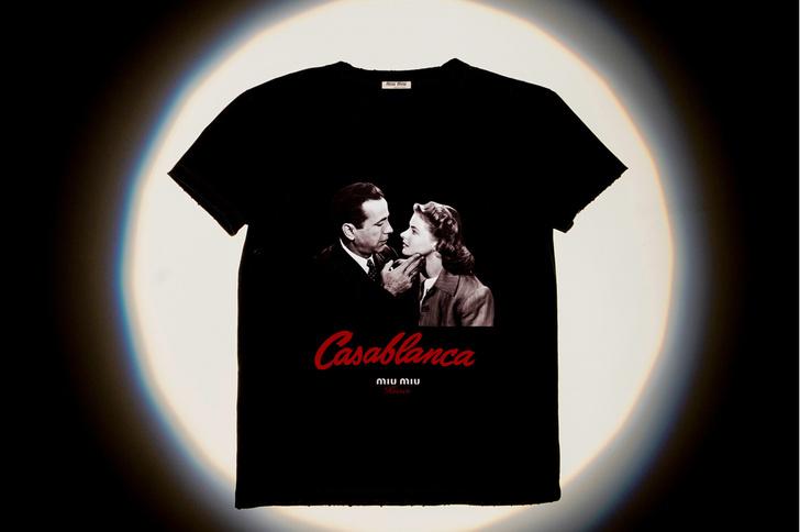 Места для поцелуев: Miu Miu выпустила коллекцию футболок с кадрами из культовых фильмов (фото 1)