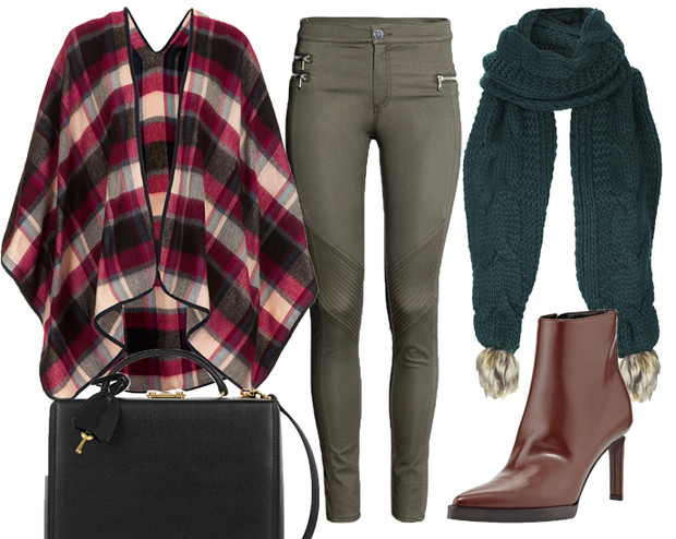 Пончо и шарф Topshop, скинни-джинсы H&M, ботильоны Stella McCartney, сумка Mark Cross