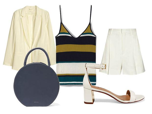 Выбор ELLE: шорты Chloe, блейзер H&M, сумка Mansur Gavriel, босоножки Tory Burch