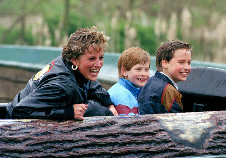 Принцесса Диана, принцы Гарри и Уильям, 1993 год