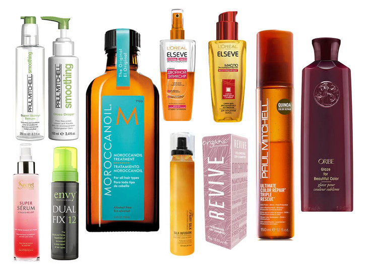 1. Paul Mitchell Smoothing Super Skinny Serum; 2. Paul Mitchell Smoothing Gloss Drops; 3. Moroccanoil Treatment For All Hair Types; 4. L'Oreal Paris Elseve Двойной эликсир и Экстраординарное масло; 5. Paul Mitchell Ultimate Color Repair Triple Rescue; 6. Oribe Glaze For Beautiful Color; 7. Organic Colour Systems Revive Volumising Dry Shampoo; 8. NIKA Fairy Silk Infusion; 9. Envy Professional Dual Fix 12; 10. Secret Professionnel by Phyto Secret Serum Red Love