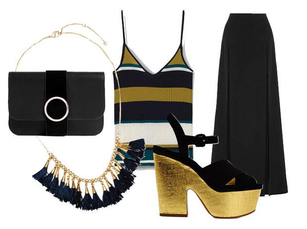Выбор ELLE: юбка—макси Chalayan, босоножки на платформе Michael Kors, клатч Zara, колье H&M
