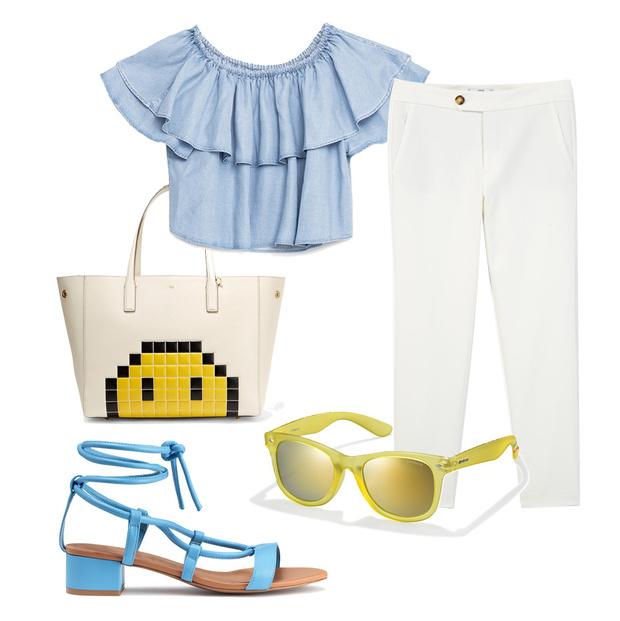 Выбор ELLE: босоножки H&M, брюки Mango, сумка Anya Hindmarch, солнцезащитные очки Polaroid