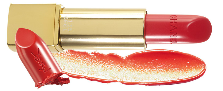 Помада Rouge Allure, 136, Chanel; Матовый блеск L'Absolu Crème de Mat, Lancôme; Помада Rouge Pur Couture, 13, YSL