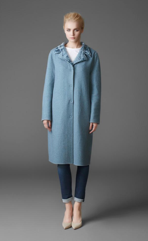 пальто из кашемира с воротником из каракульчи swakara