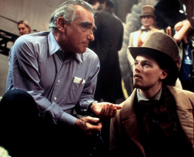 Мартин Скорсезе и Леонардо Ди Каприо на съемочной площадке фильма «Банды Нью-Йорка»
