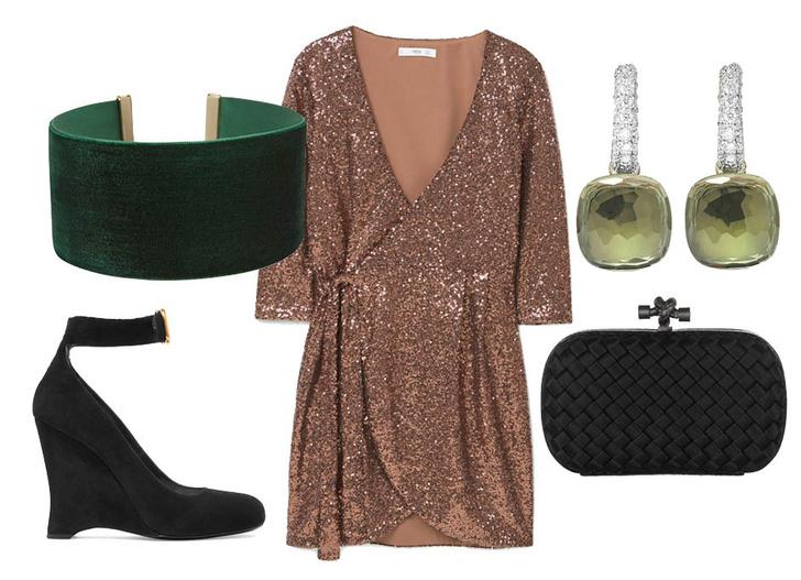 Выбор ELLE: платье Mango, туфли Prada, клатч Bottega Veneta, серьги Pomellato
