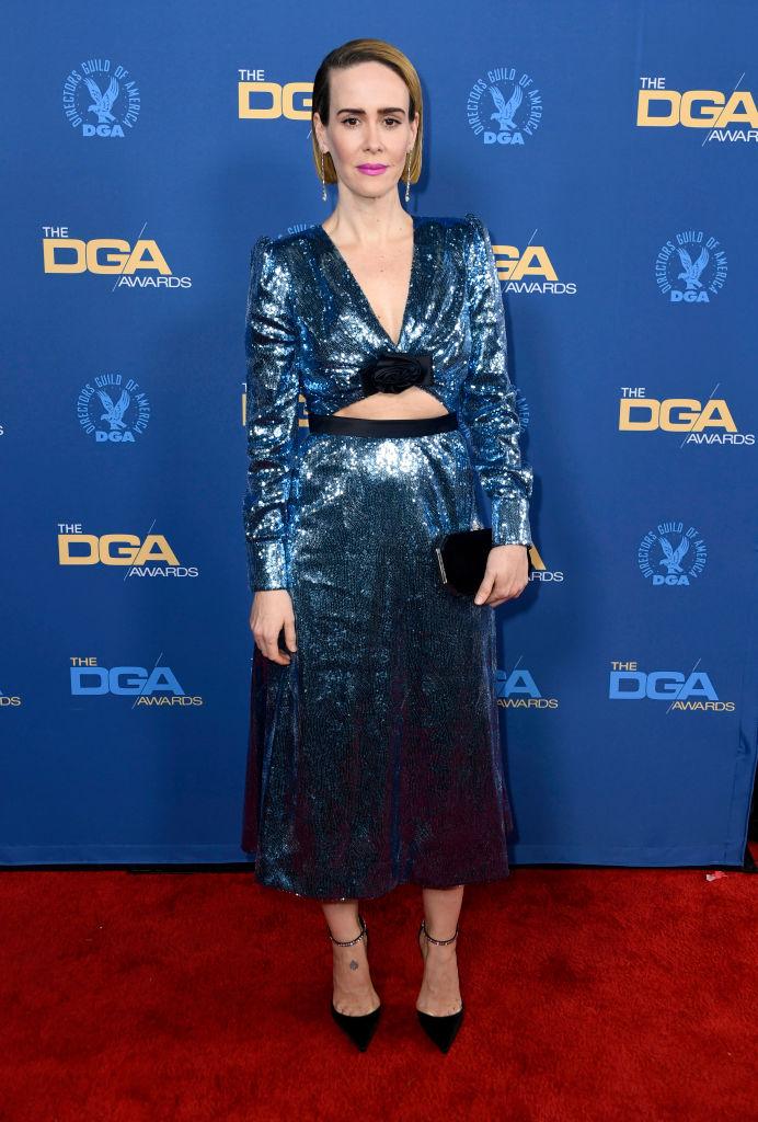 Космический гламур: Сара Полсон в сверкающем платье Miu Miu (фото 1)