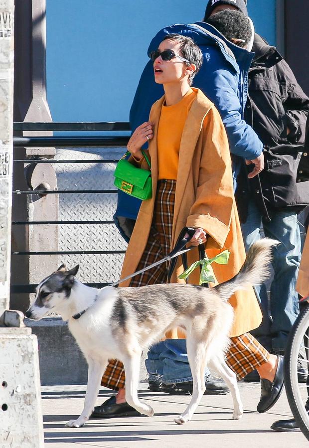 Бежевое пальто + неоновая сумка = стильное комбо! Зои Кравиц на прогулке с мужем (фото 1)
