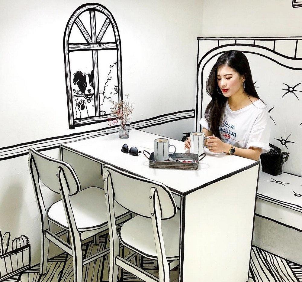 «Нарисованное» кафе в Сеуле (галерея 2, фото 4)