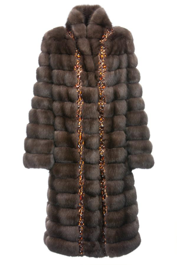 пальто braschi из баргузинского соболя, украшенное камнями