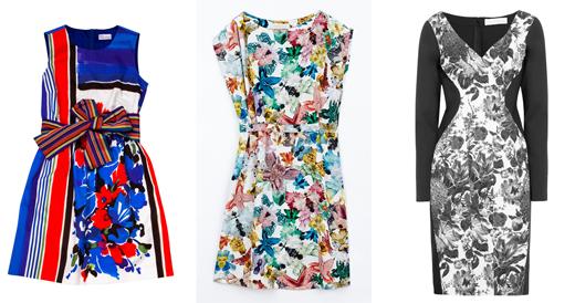 Платье с ярким принтом с чем носить