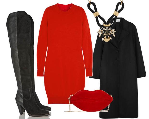 Выбор ELLE: пальто Valentino, ботфорты Chloe, клатч Charlotte Olympia, ожерелье J. Crew