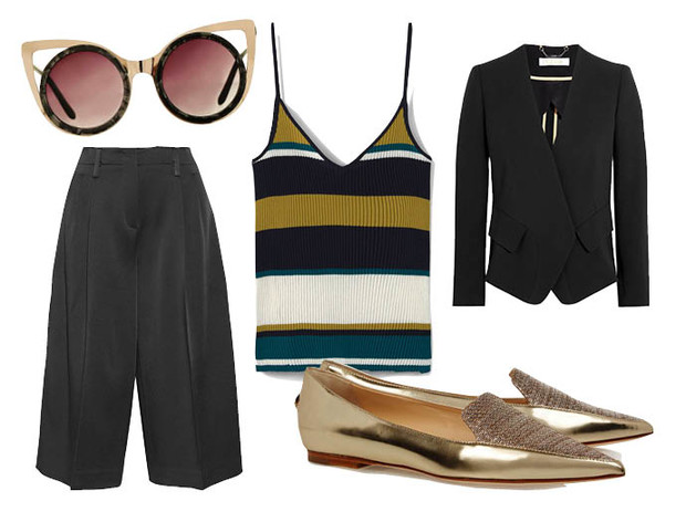 Выбор ELLE: кюлоты Joseph, блейзер Chloe, солнцезащитные очки TopShop, лоаферы Jimmy Choo