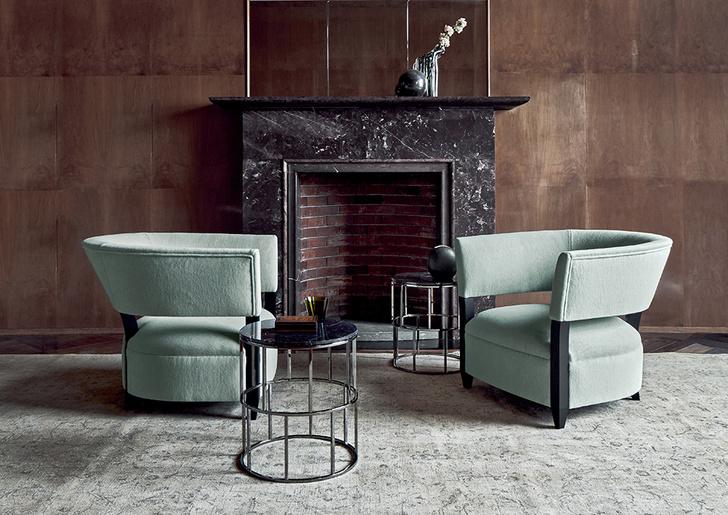 Кресла Coconuts итальянской марки Flexform Mood в модной мятной обивке, дизайн Джона Хаттона, iS