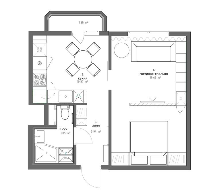 Квартира 38 м² для отдыха после работы (фото 8)