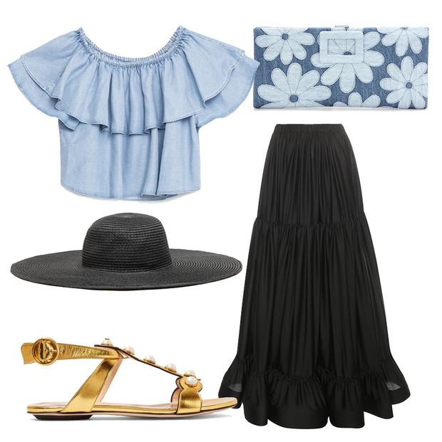Выбор ELLE: юбка Stella McCartney, шляпа Zara, босоножки Gucci, клатч Roger Vivier
