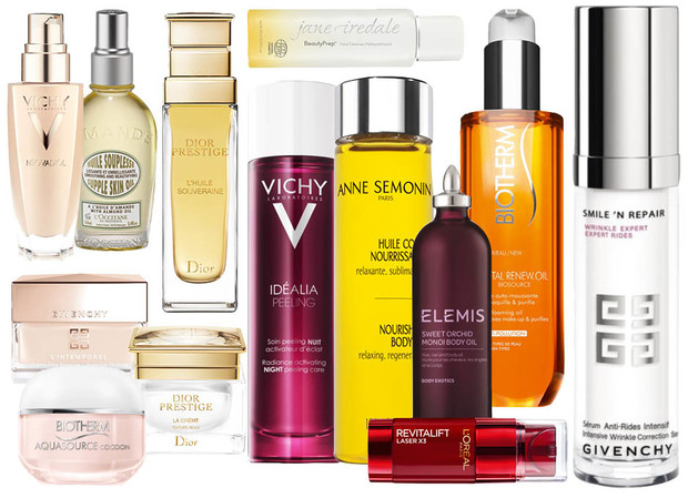 1. Vichy Neovadiol; 2. L'Occitane Amande Supple Skin Oil; 3. Dior Prestige L'Huile Souveraine; 4. Jane Iredal Face Cleanser; 5. Biotherm Total Renew Oil; 6. Givenchy Smile'n'Repair Wrinkle Expert; 7. Elemis Sweet Orchid Monoi Body Oil; 8. Anne Semonin Nourishing Body Oil; 9. L'Oreal Paris Revitalift Laser Double Care; 10. Vichy Idealia Peeling; 11. Dior Prestige La Creme; 12. Givenchy L'Intemporel Global Youth Silky Sheer Cream