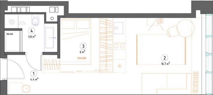 Короткий метр: студия 32 м² для молодой девушки (фото 13)