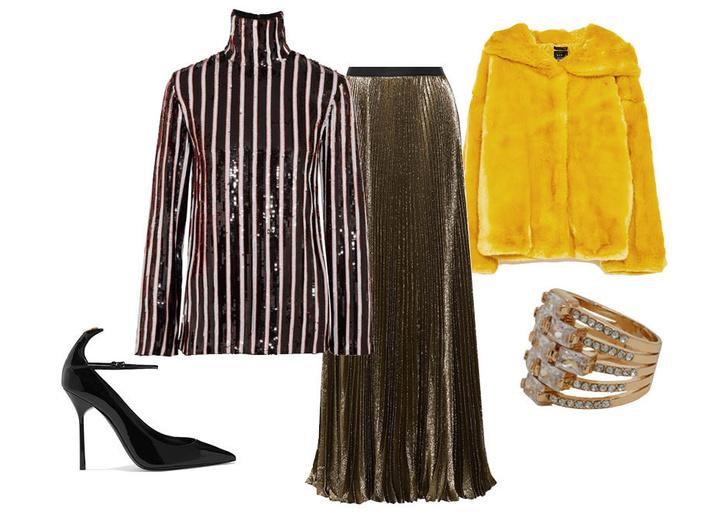 Выбор ELLE: юбка Reem Acra, топ MSGM, туфли Saint Laurent, кольцо Aldo