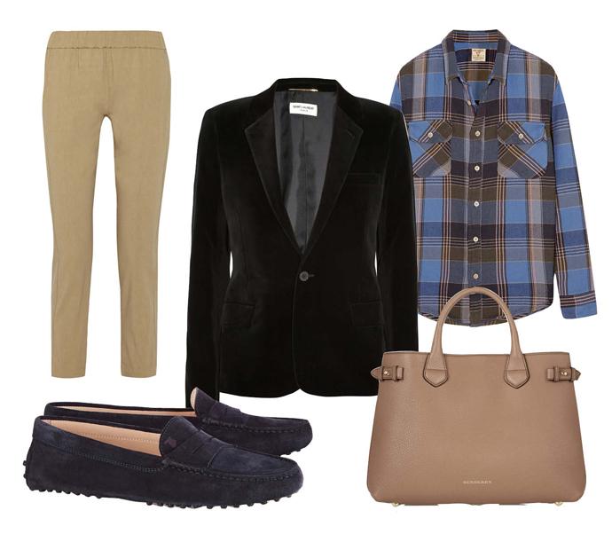 Выбор ELLE: рубашка Levi's, брюки Theory, сумка Burberry, лоаферы Tod's