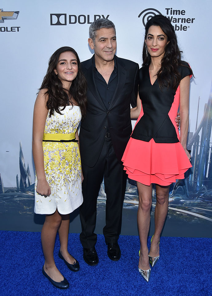 Джордж и Амаль Клуни и Миа Аламуддин
