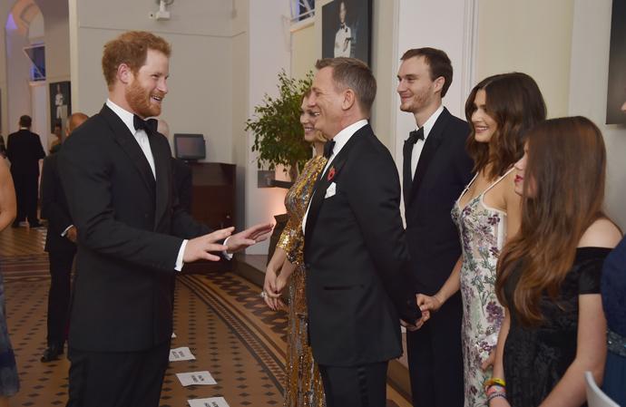 Принц Гарри, Леа Сейду и Дэниел Крейг с женой Рейчел Вайс