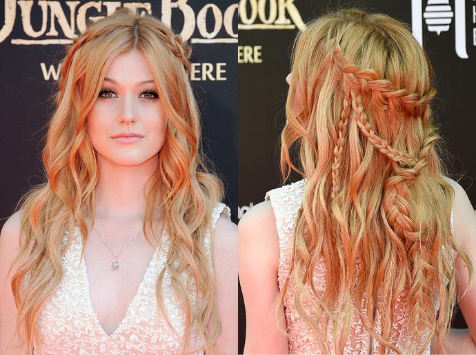 Крупные косы на волосах