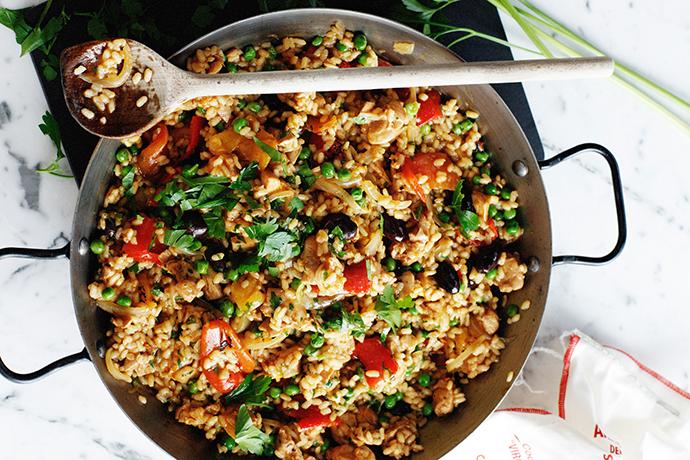 Рис с тыквой и зеленым горошком