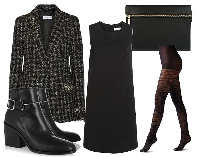 Выбор ELLE: платье Paul&Joe, ботильоны Balenciaga, колготки Guess, клатч Victoria Beckham