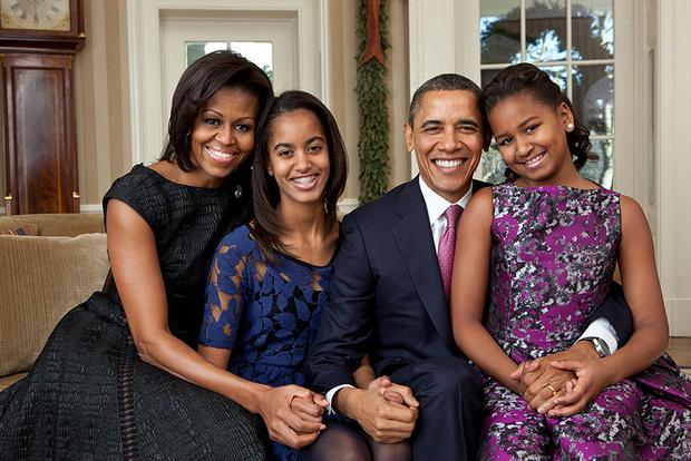 Мишель и Барак Обама с дочерьми