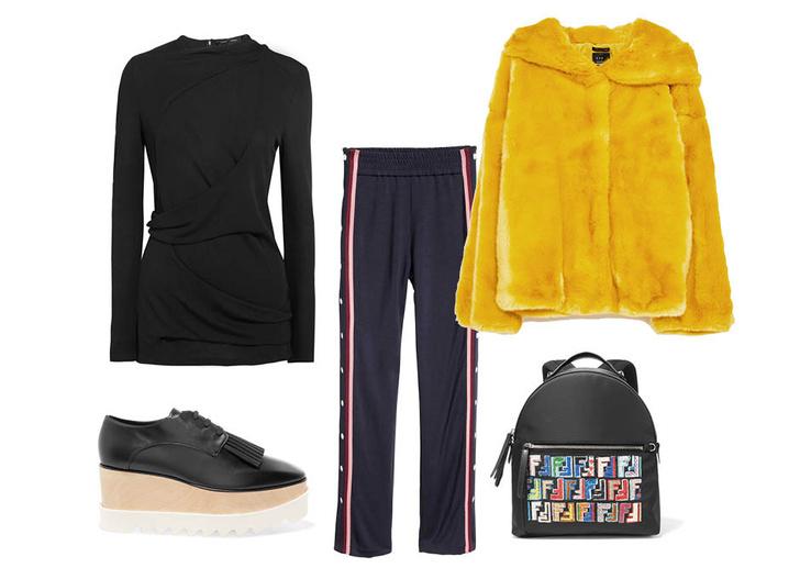Выбор ELLE: треники H&M Studio, флатформы Stella McCartney, топ Proenza Schouler, рюкзак Fendi
