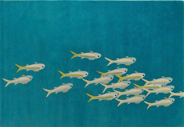 Удачный улов: обои, ткани, посуда и другой декор интерьера с рыбами