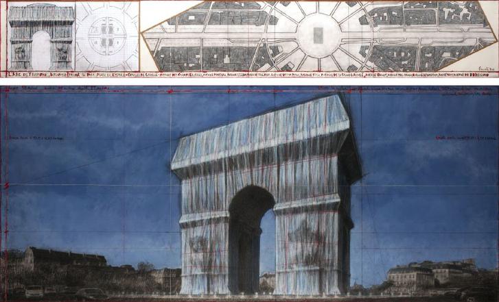 Христо «упакует» Триумфальную арку в Париже (фото 8)