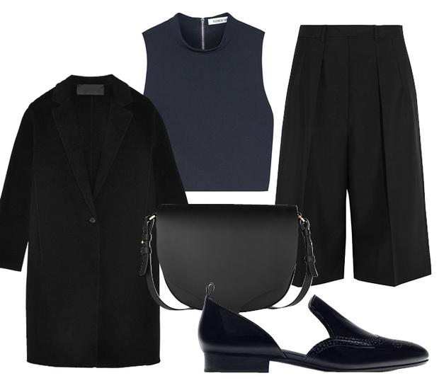 Выбор ELLE: укороченный топ Elizabeth and James, пальто Donna Karan, сумка—полукруг Sophie Hulme, броги Zara