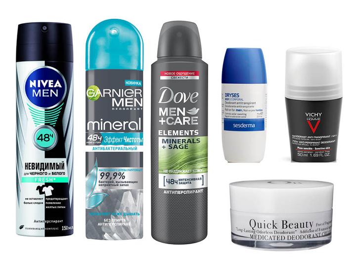 1. Nivea Men Fresh; 2. Garnier Men Mineral; 3. Dove Men+Care Minerals+Sage; 4. Sesderma Dryses Body Roll-on for Men; 5. Vichy Homme Deodorant Anti-Transpirant 72H; 6. Quick Beauty Medicated Deodorant