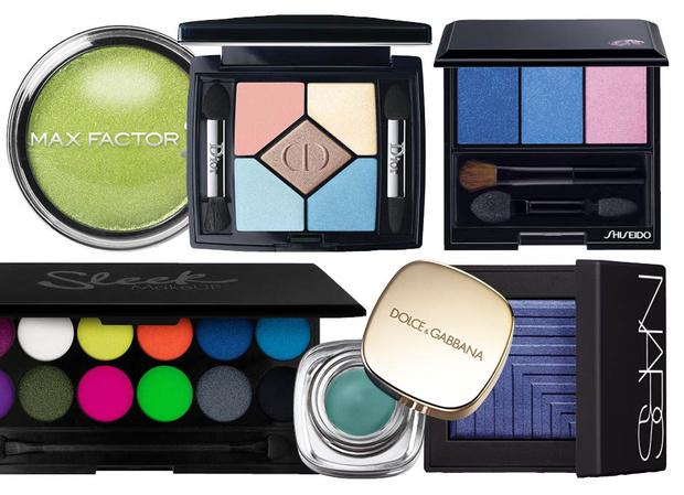 Max Factor Wild Shadow Pots; Dior 5 Couleur Bain de Mer; NARS Dual-Intensity Eyeshadow; Sleek MakeUp i-Divine Acid Palette; Dolce & Gabbana Cream Eye Colour Indaco 110; NARS Dual-Intensity, Cressida