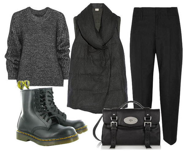 Выбор ELLE: свитер Belstaff, брюки Jil Sander, жилет на пуху DKNY, сумка Mulberry