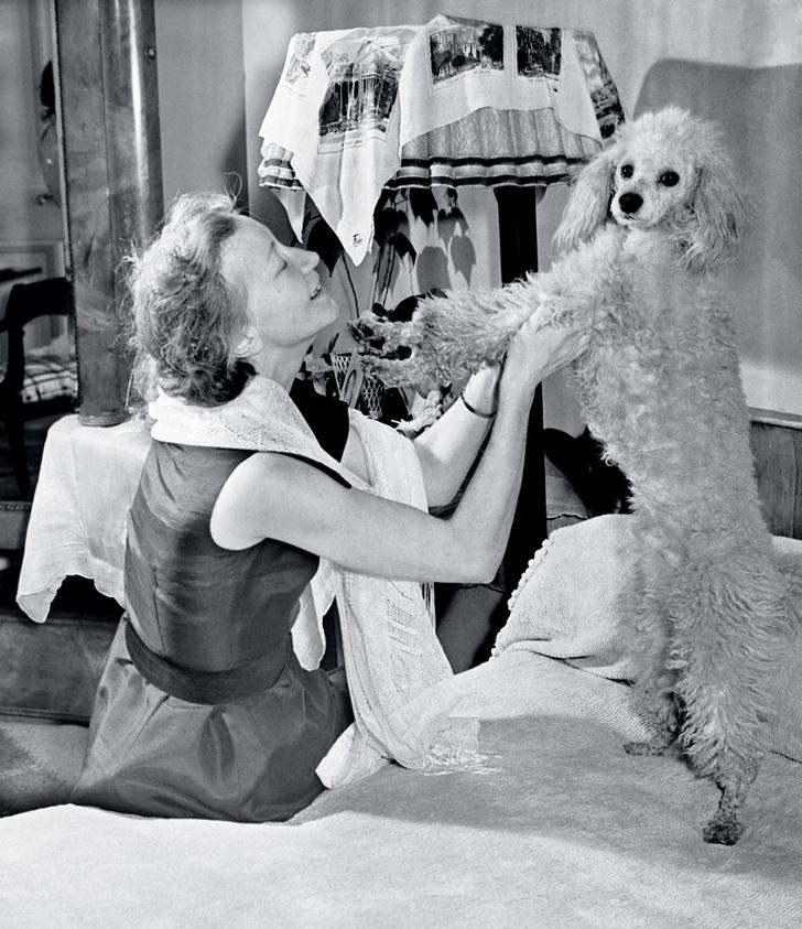Портрет с любимым пуделем по кличке Bolshoi, или Большик — собаку подарили английские поклонники после триумфальных гастролей в 1956 году.