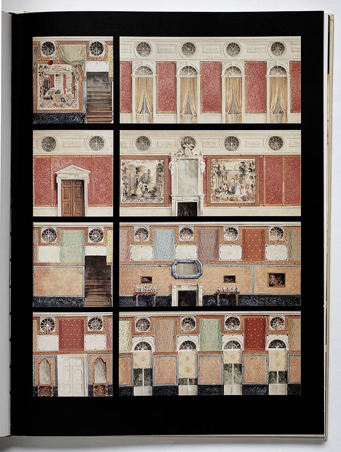 Эскиз оформления комнаты, где хранились редкие гобелены XVIII века. Дамаст, которым обиты стены, гармонирует с ними по цвету.