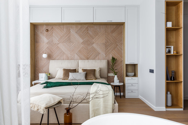Деревянные панели в спальне: 10 примеров (галерея 0, фото 0)