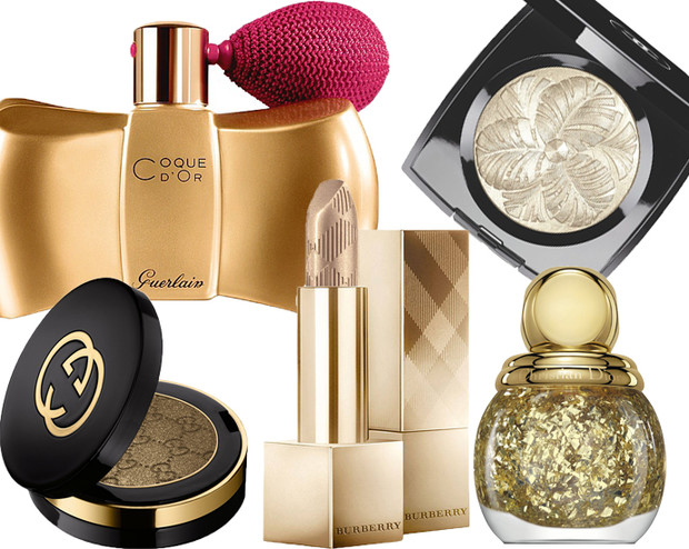 По часовой стрелке: пудра Guerlain Coque D'Or, пудра Chanel, лак Dior, помада Burberry, тени Gucci