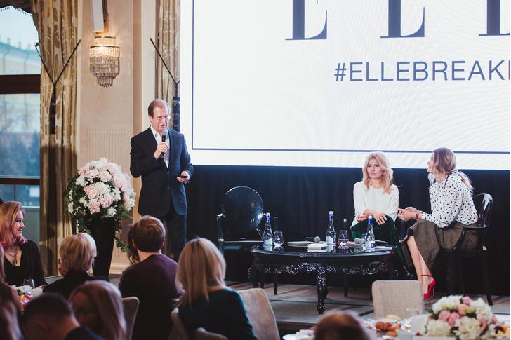 Виктор Шкулев (Hearst Shkulev Publishing), Надежда Стрелец (ELLE) и Екатерина Мухина (ELLE)
