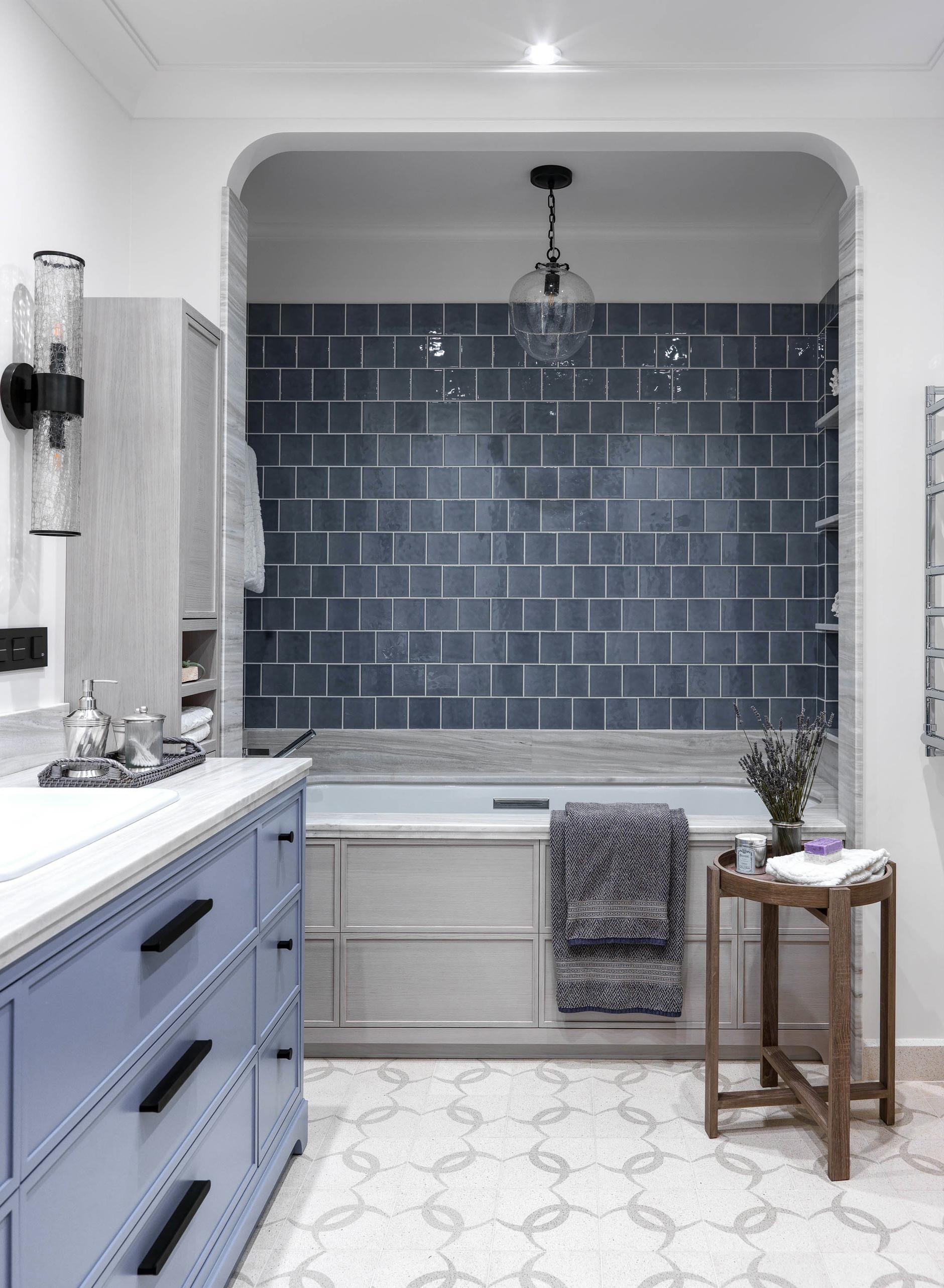 Синяя ванная комната: 15 идей (галерея 1, фото 3)