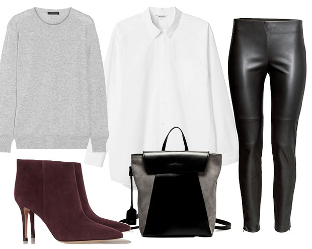 Выбор ELLE: рубашка Monki, кожаные брюки H&M, сумка Alberto Guardiano, ботильоны Gianvito Rossi