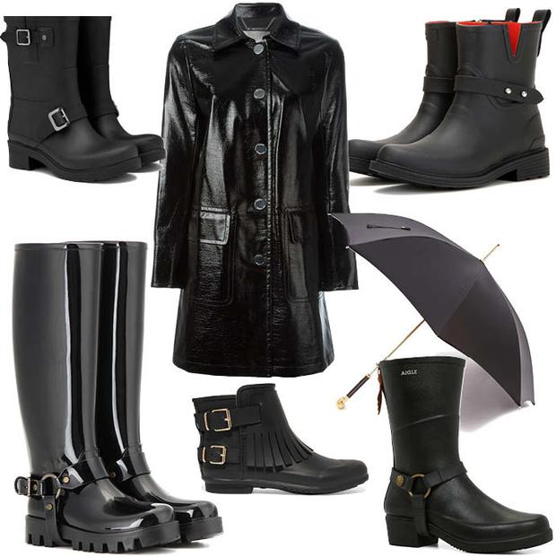 Выбор ELLE: зонт Alexander McQueen, плащ Michael Michael Kors, сапоги Hunter, Dolce&Gabbana, Burberry, Rag&Bone, Aigle