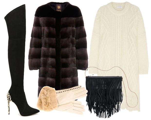 Выбор ELLE: шуба Braschi, ботфорты Casadei, платье-свитер Vionnet, сумка H&M, перчатки Sermoneta