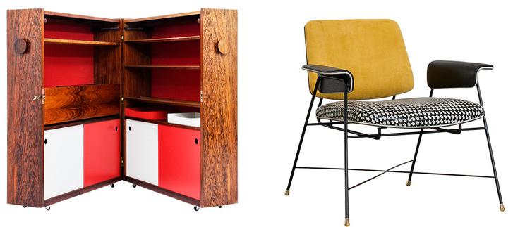 Винтажный бар, Дания, 1960-е годы. Кресло из коллекции Bauhaus от Baxter, дизайн обивки — Драга Обрадович и Аурел К. Баседов.