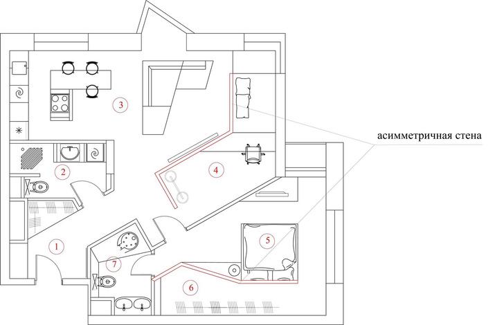 Ломаная линия: нестандартная планировка квартиры 72  м² (фото 5)