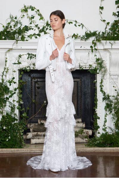 Кожаные куртки и костюмы в свадебной (!) коллекции Monique Lhuillier   галерея [1] фото [1]